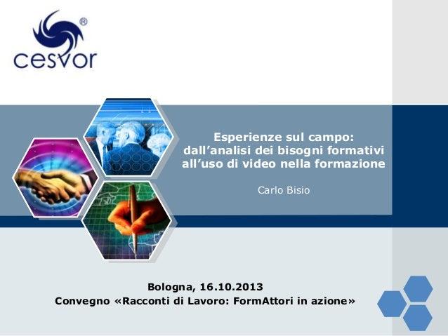 Relazione Bisio a Bologna fiera Ambiente Lavoro su formazione