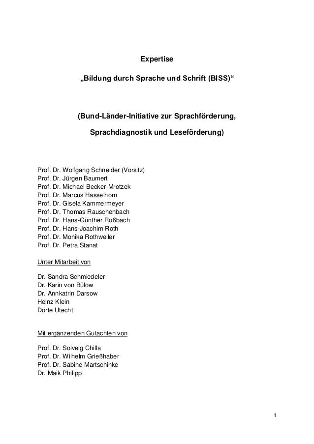 """Expertise               """"Bildung durch Sprache und Schrift (BISS)""""              (Bund-Länder-Initiative zur Sprachförderun..."""