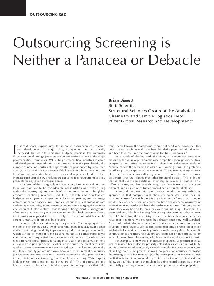 OutsOurcing r&D     Outsourcing Screening is Neither a Panacea or Debacle                                                 ...
