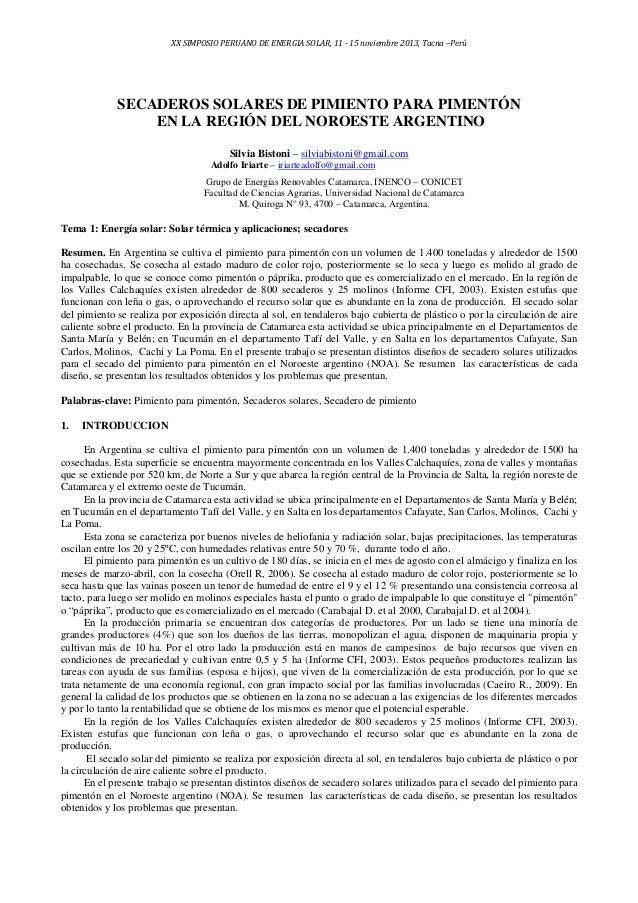XX SIMPOSIO PERUANO DE ENERGIA SOLAR, 11 - 15 noviembre 2013, Tacna –Perú  SECADEROS SOLARES DE PIMIENTO PARA PIMENTÓN EN ...