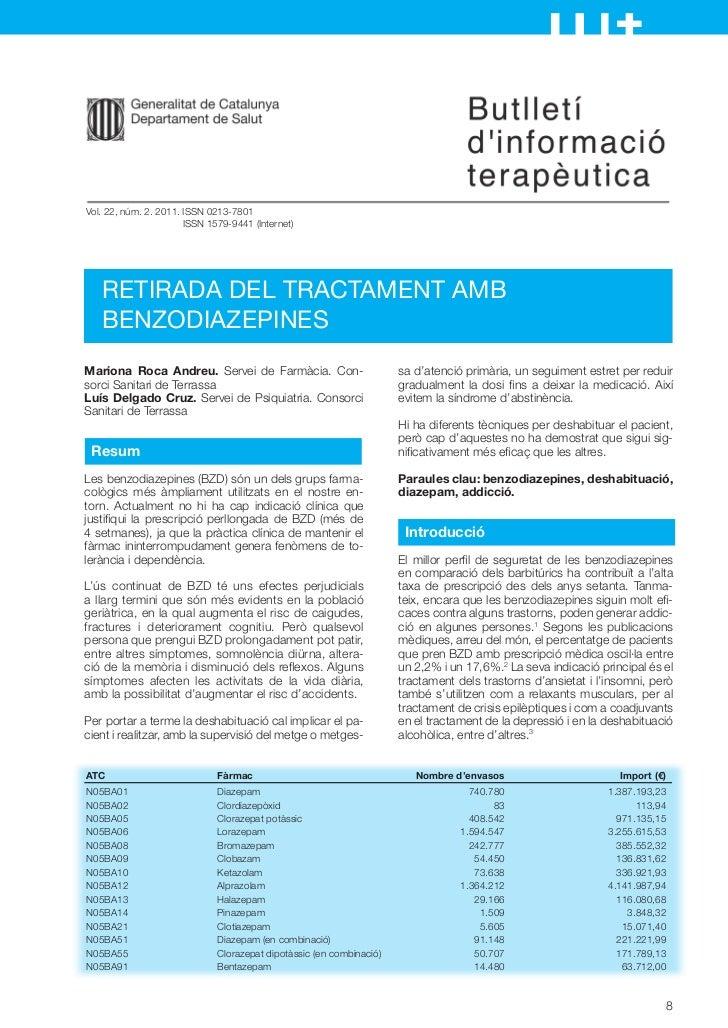 Vol. 22, núm. 2. 2011. ISSN 0213-7801                       ISSN 1579-9441 (Internet)   RETIRADA DEL TRACTAMENT AMB   BENZ...