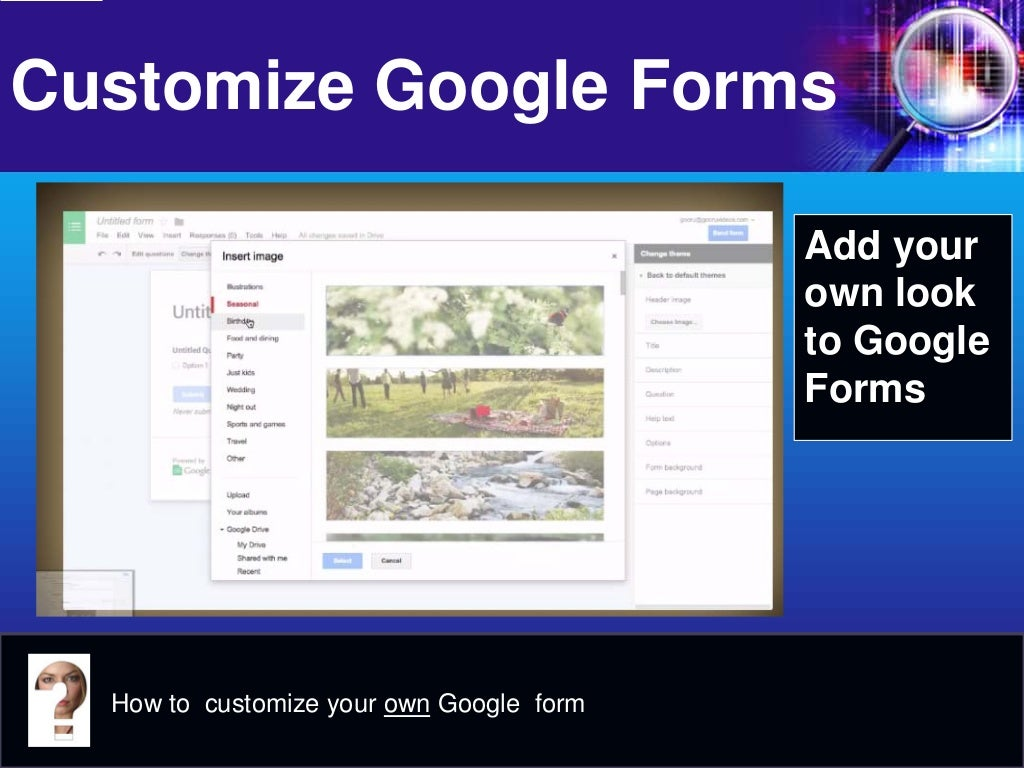 how to add a photo to google forms