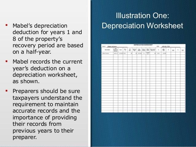 Irs depreciation worksheet excel