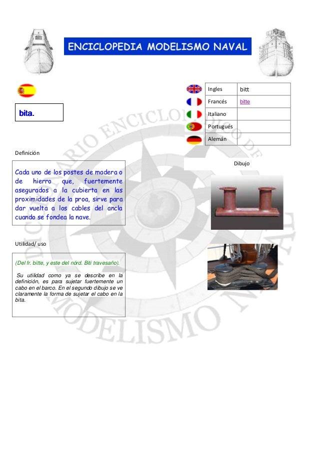 ENCICLOPEDIA MODELISMO NAVAL  Ingles Francés  bita.  bitt bitte  Italiano Portugués Alemán  Definición Dibujo  Cada uno de...