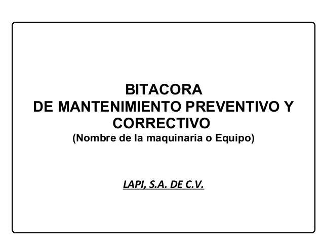 Bitacora mantenimiento