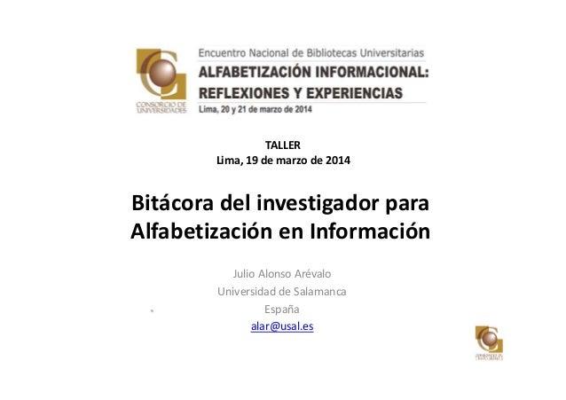 Bitácora del investigador para alfabetización en información