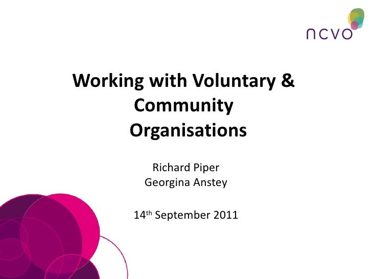 Working with Voluntary &  Community   Organisations Richard Piper Georgina Anstey 14 th  September 2011