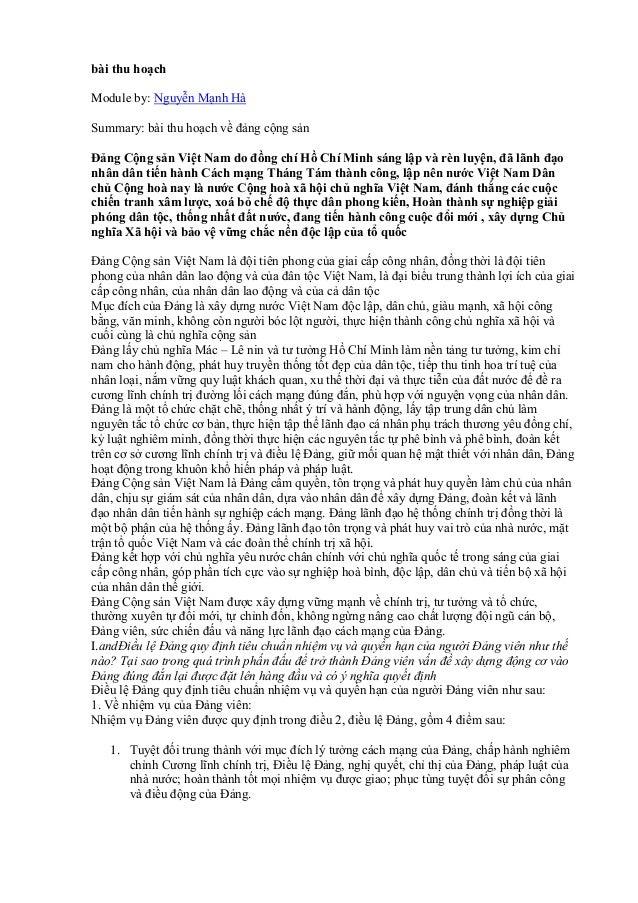 bài thu hoạch Module by: Nguyễn Mạnh Hà Summary: bài thu hoạch về đảng cộng sản Đảng Cộng sản Việt Nam do đồng chí Hồ Chí ...