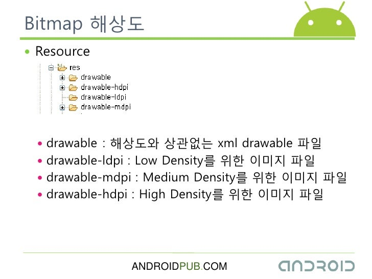 Bitmap 해상도  Resource       drawable : 해상도와 상관없는 xml drawable 파읷   drawable-ldpi : Low Density를 위한 이미지 파읷   drawable-md...