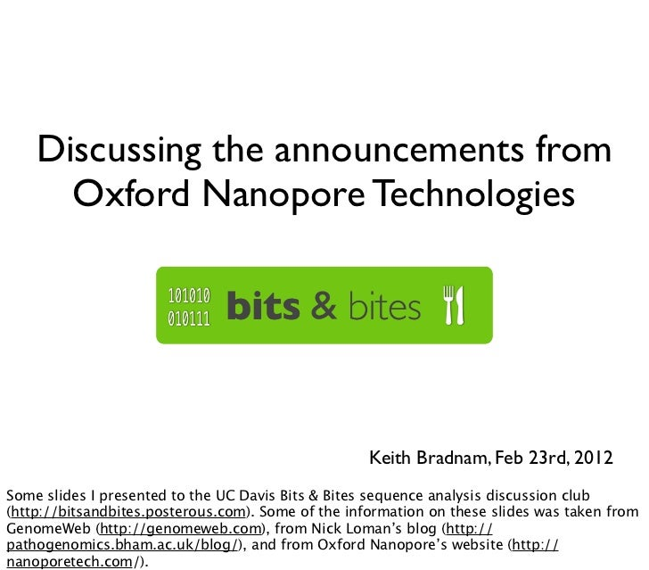 Discussing the announcements from      Oxford Nanopore Technologies                                                    Kei...