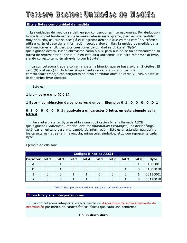 Bits y Bytes como unidad de medida   Las unidades de medida se definen por convenciones internacionales. Por deducciónlógi...