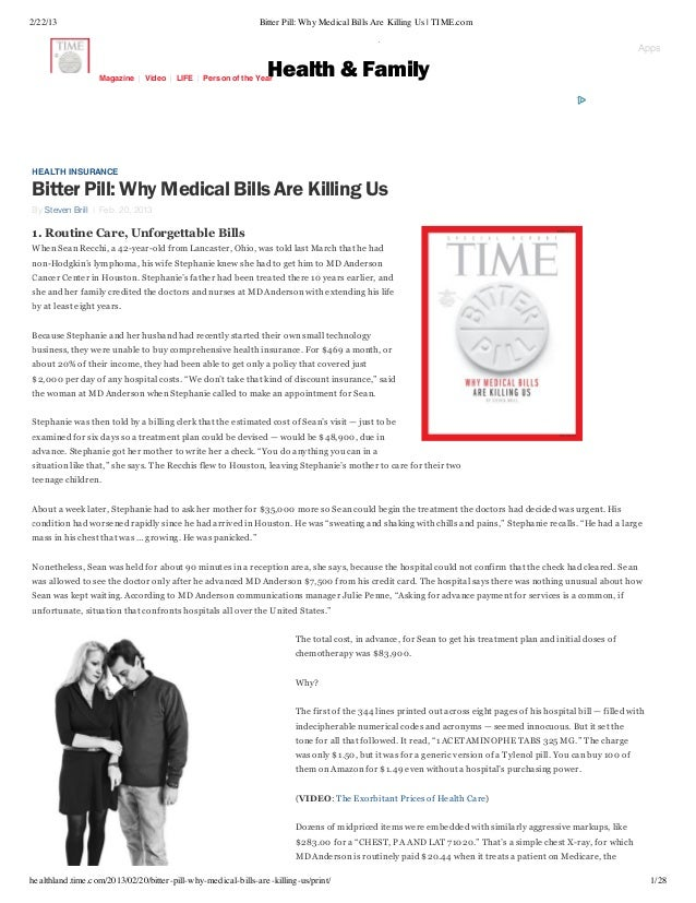2/22/13                                                       Bitter Pill: Why Medical Bills Are Killing Us | TIME.com    ...