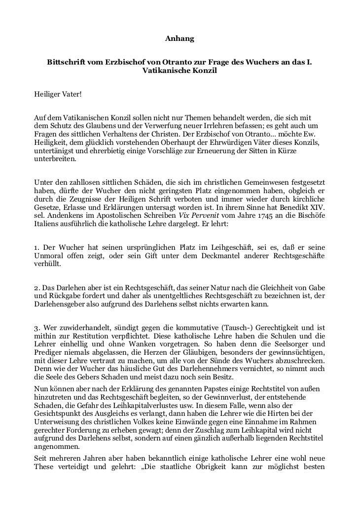 Anhang    Bittschrift vom Erzbischof von Otranto zur Frage des Wuchers an das I.                             Vatikanische ...