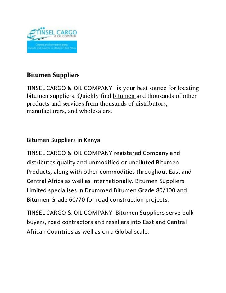 Bitumen suppliers