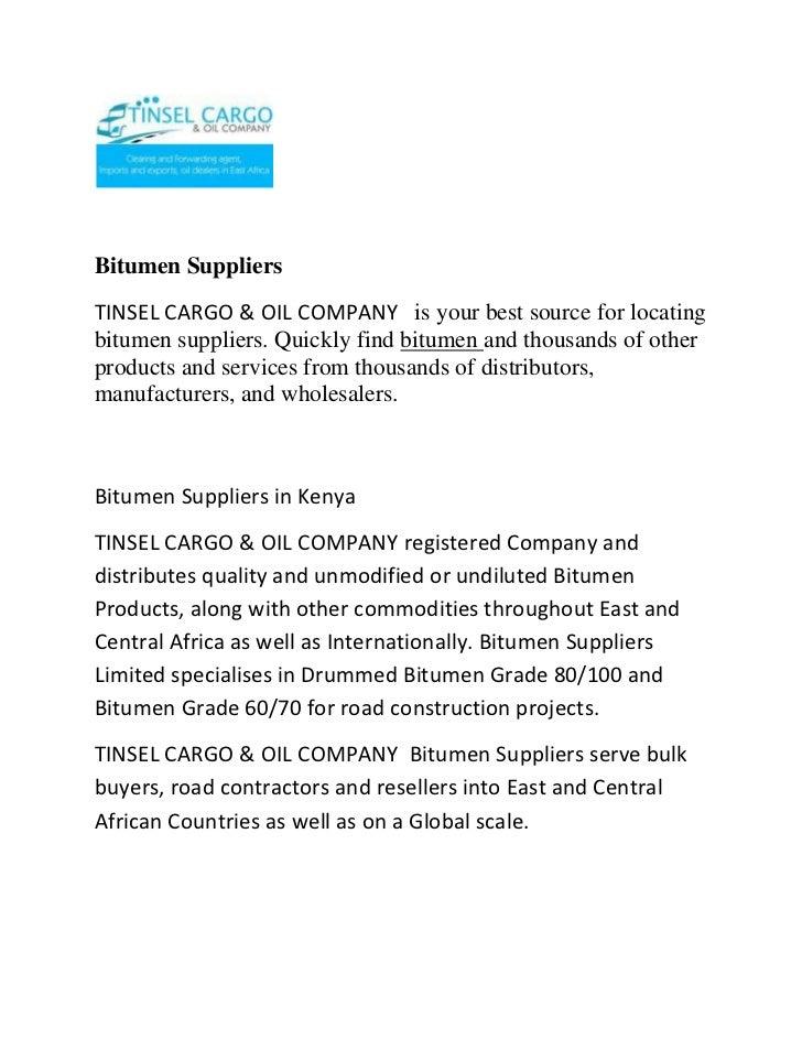 Bitumen suppliers