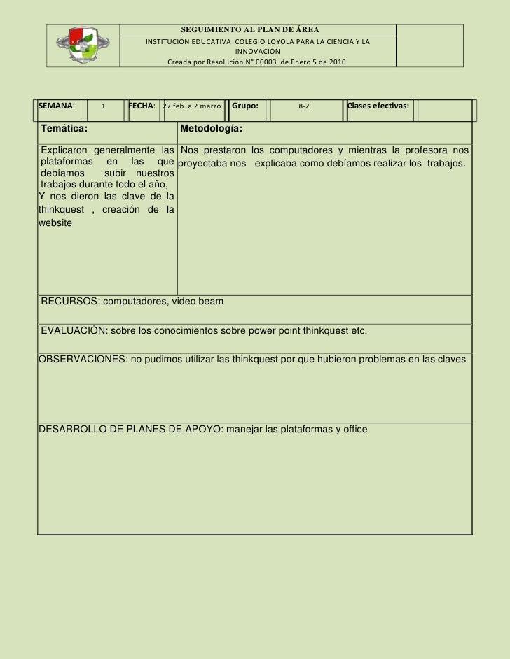 SEGUIMIENTO AL PLAN DE ÁREA                      INSTITUCIÓN EDUCATIVA COLEGIO LOYOLA PARA LA CIENCIA Y LA                ...