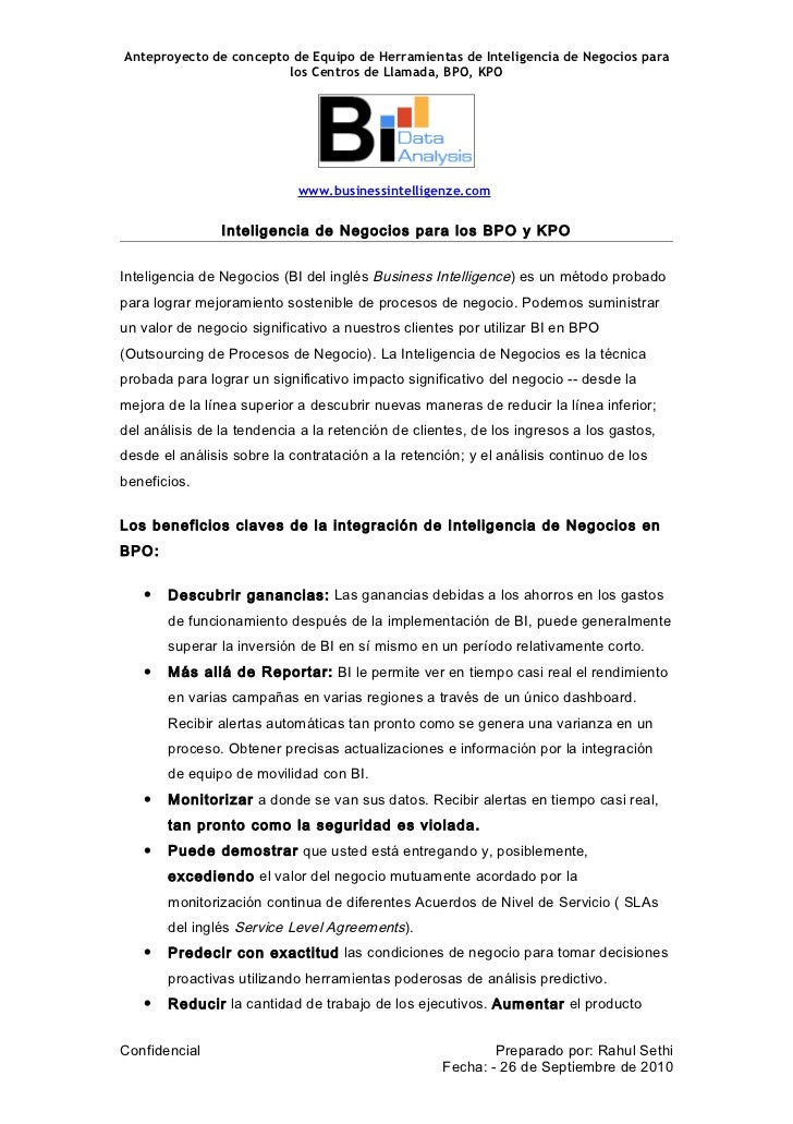 BusinessIntelligenze - BPO Applicability (Spanish)