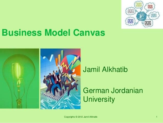 Business Model Canvas Jamil Alkhatib German Jordanian University Copyrights © 2012 Jamil Alkhatib 1