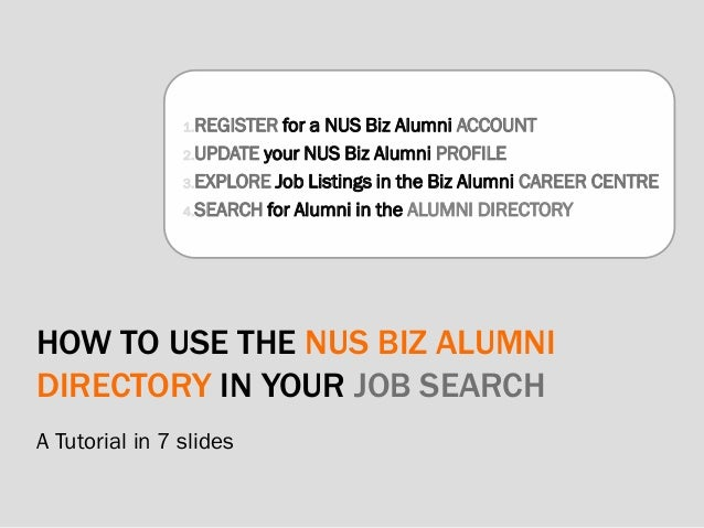 HOW TO USE THE NUS BIZ ALUMNI DIRECTORY IN YOUR JOB SEARCH A Tutorial in 7 slides 1.REGISTER for a NUS Biz Alumni ACCOUNT ...