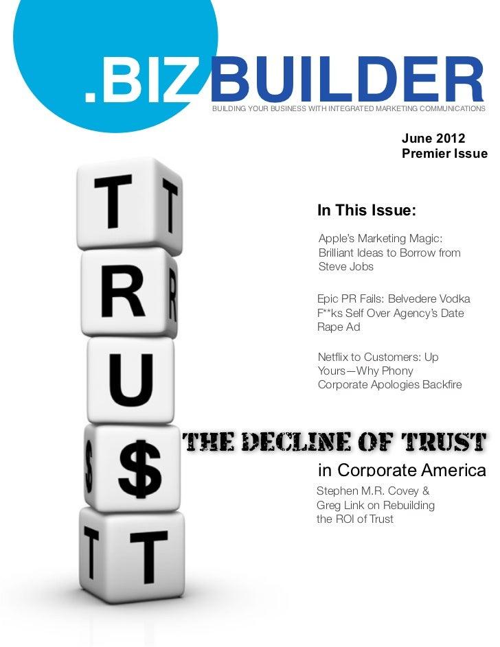 BIZ Builder Magazine - The Decline of Trust in Corporate America - June 2012
