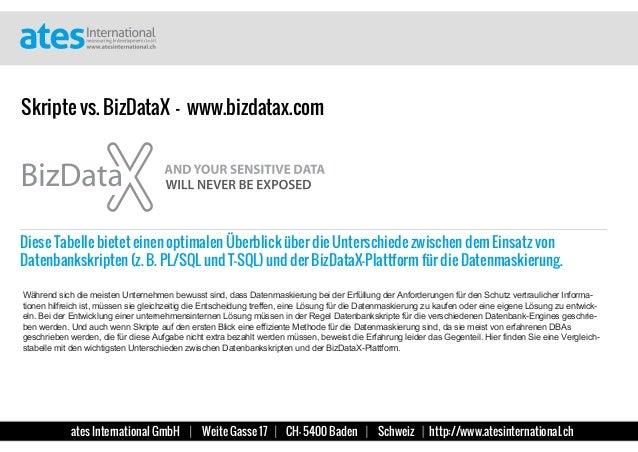 Skripte vs. BizDataX - Diese Tabelle bietet einen optimalen Überblick über die Unterschiede zwischen dem Einsatz von Daten...