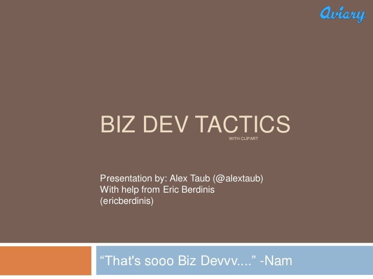 Aviary University- Biz Dev Tactics