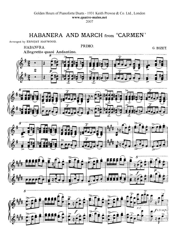 Habanera From Carmen Piano Sheet Music images