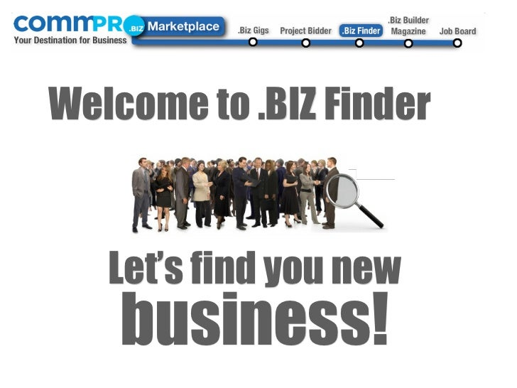 Welcome to .BIZ Finder   Let's find you new    business!
