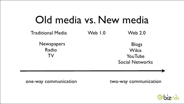 traditional media vs new media While social media players espouse a different agenda than the mainstream media, blogs still heavily rely on the traditional press – and primarily just a few outlets within that – for their information.