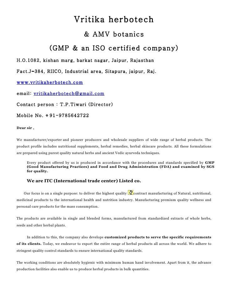 Vritika herbotech                                          & AMV botanics                      (GMP & an ISO certified com...