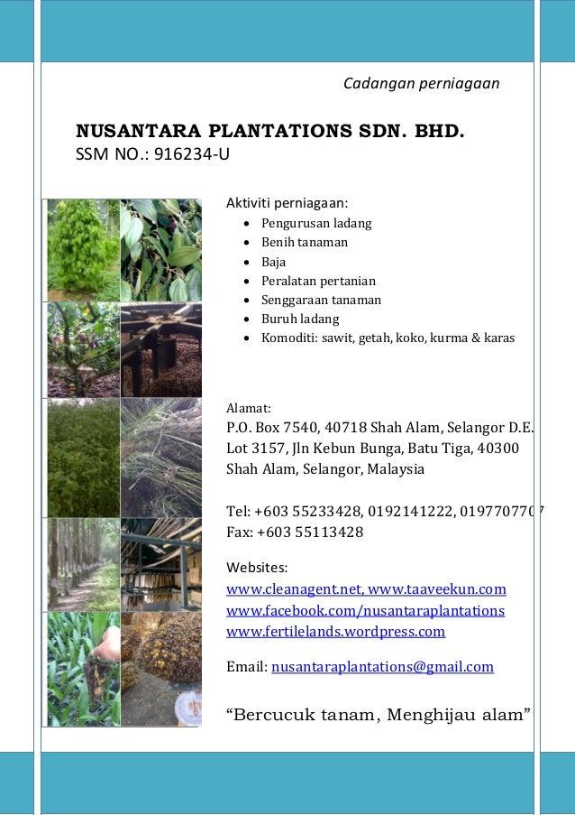 Biz proposal baja sawit getah nusantara plantations sdn bhd