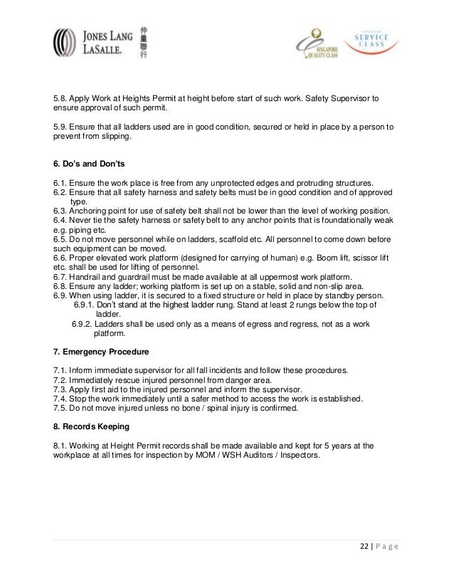 Permit to Work Template Apply Work at Heights Permit