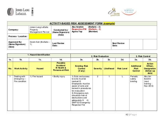 Bizsafe risk assessment for Property risk assessment template