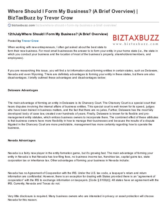 Where Should I Form My Business? (A Brief Overview) | BizTaxBuzz by Trevor Crow biztaxbuzz.com/bizlaw/where-should-i-f orm...