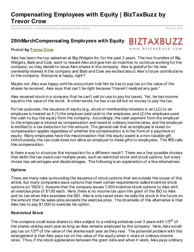 http://biztaxbuzz.com/compensating-employees-with-equity/ May 21, 2013Compensating Employees with Equity | BizTaxBuzz byTr...