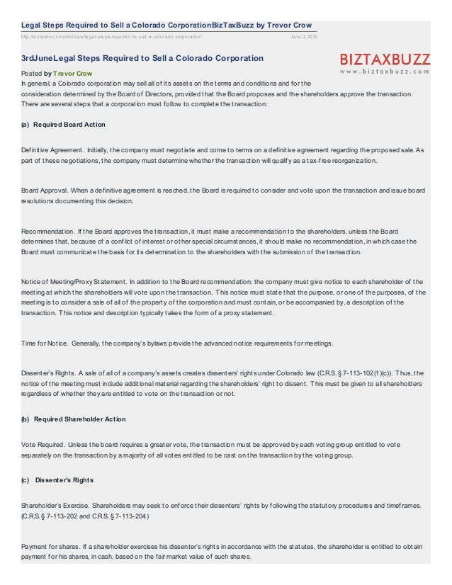 http://biztaxbuzz.com/bizlaw/legal-steps-required-to-sell-a-colorado-corporation/ June 3, 2013Legal Steps Required to Sell...