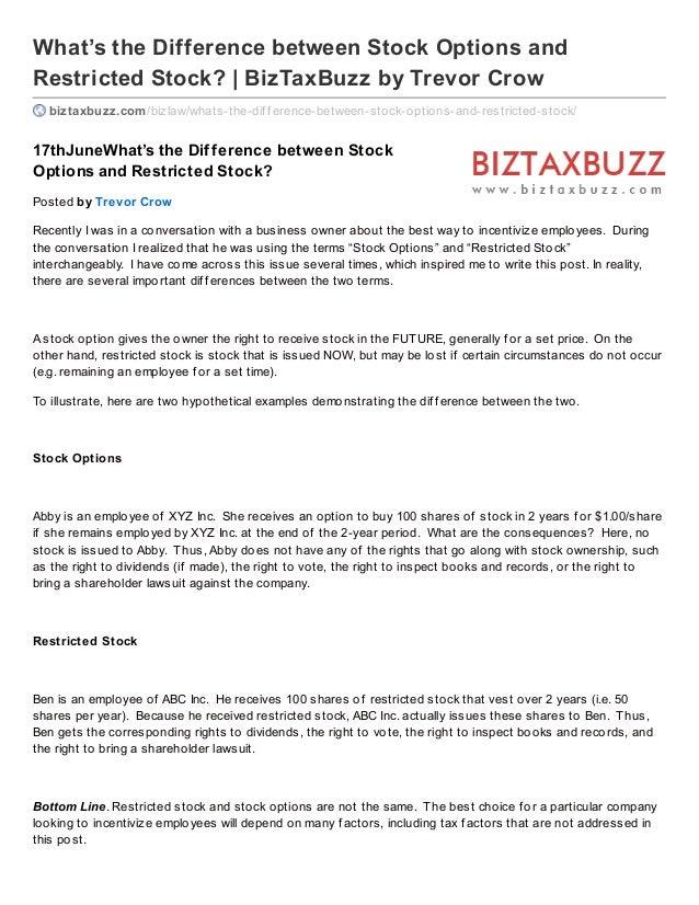 What's the Difference between Stock Options andRestricted Stock? | BizTaxBuzz by Trevor Crowbiztaxbuzz.com/bizlaw/whats-th...