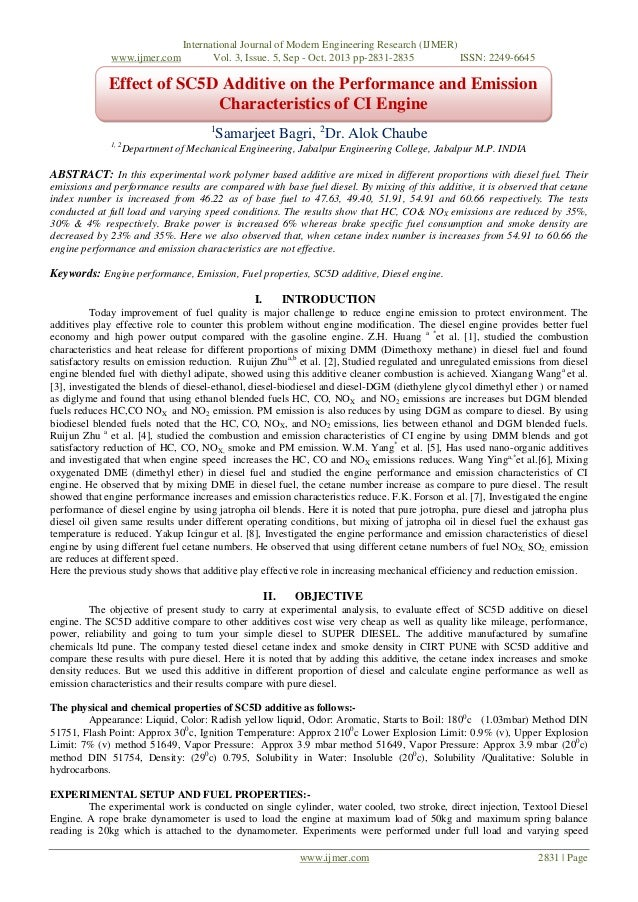 Effect of SC5D Additive on the Performance and Emission Characteristics of CI Engine