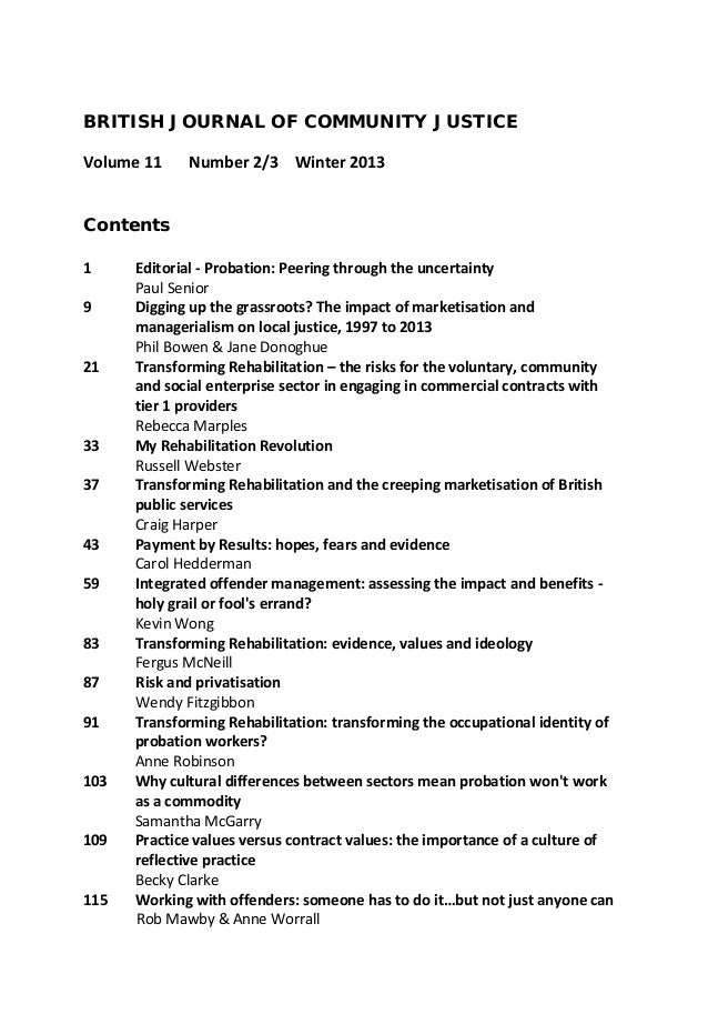 BRITISH JOURNAL OF COMMUNITY JUSTICE Volume 11  Number 2/3 Winter 2013  Contents 1 9 21  33 37 43 59 83 87 91 103 109 115 ...