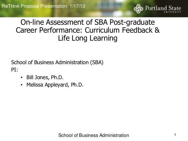 ReThink Proposal Presentation: 1/17/13       On-line Assessment of SBA Post-graduate      Career Performance: Curriculum F...
