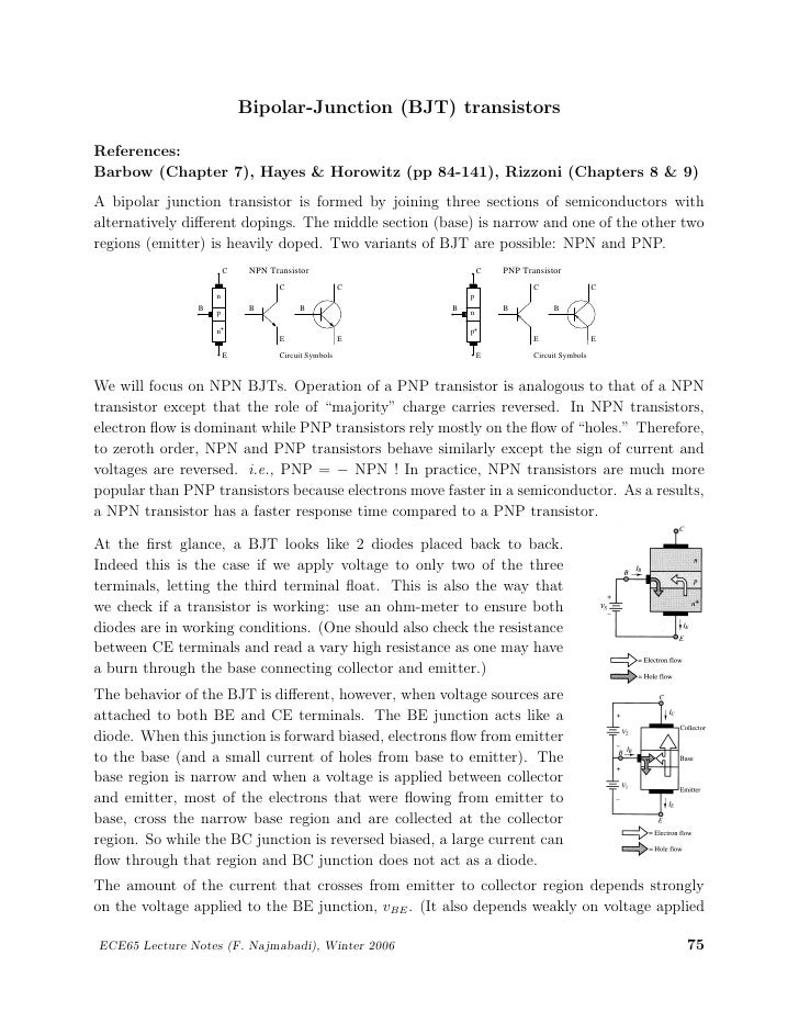 Bipolar-Junction (BJT) transistorsReferences:Barbow (Chapter 7), Hayes & Horowitz (pp 84-141), Rizzoni (Chapters 8 & 9)A b...