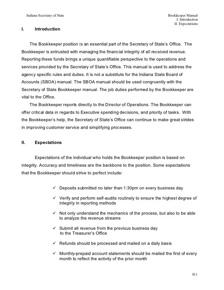 Indiana Secretary of State                                                     Bookkeeper Manual                          ...