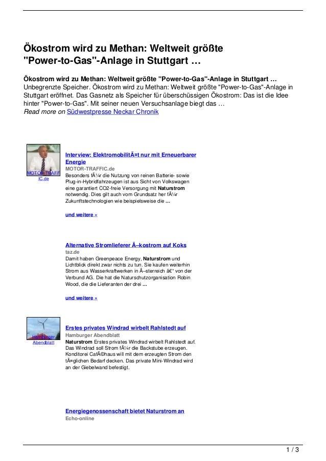 """Ökostrom wird zu Methan: Weltweit größte""""Power-to-Gas""""-Anlage in Stuttgart …Ökostrom wird zu Methan: Weltweit größte """"Powe..."""