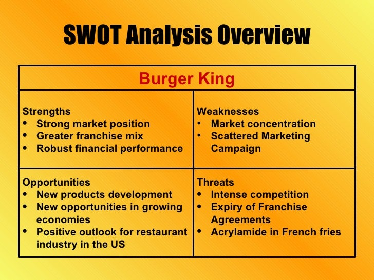 Burger king swot analysis essays