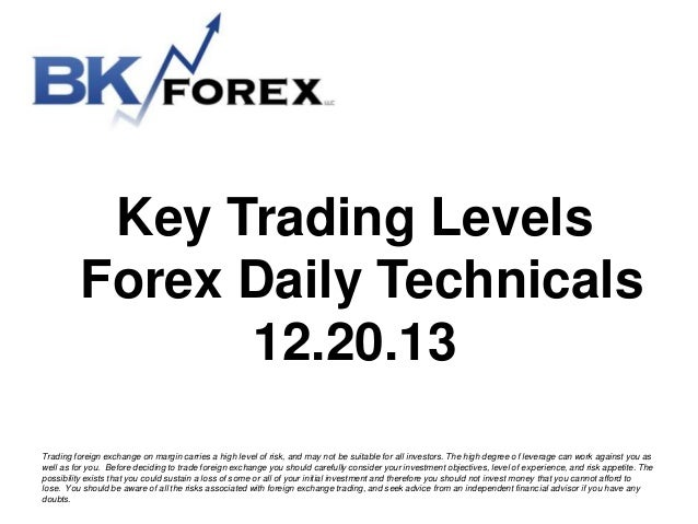 Key Trading Levels Forex Daily Technicals 12.20.13 BK technicals
