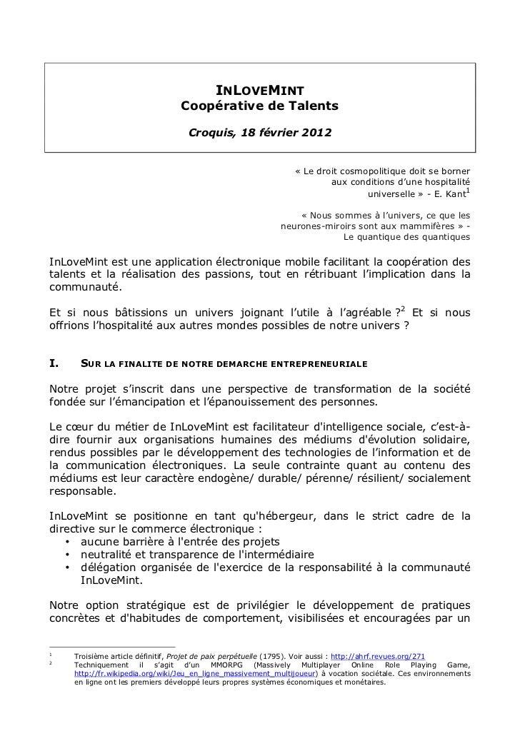 INLOVEMINT                                   Coopérative de Talents                                     Croquis, 18 févrie...