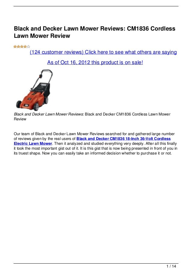 Black and Decker Lawn Mower Reviews: CM1836 CordlessLawn Mower Review          (124 customer reviews) Click here to see wh...