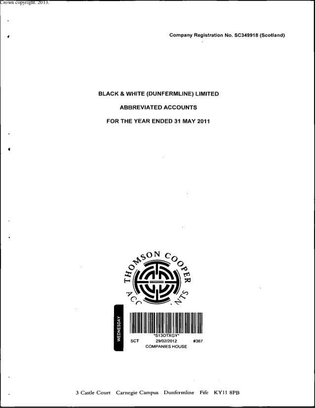 Black & White (Dunfermline) Limited Latest Audited Accounts