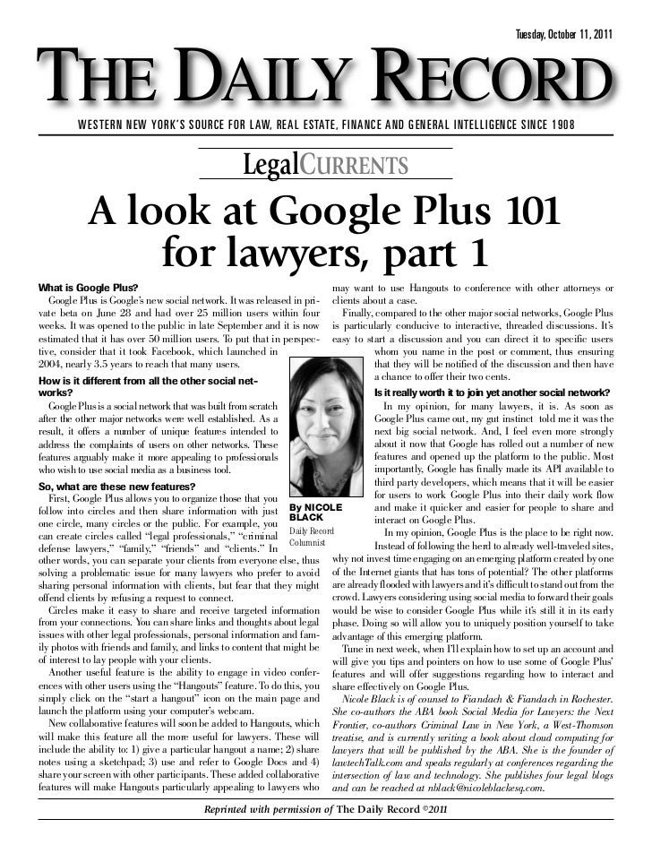 Google Plus 101 for Lawyers, Part 1