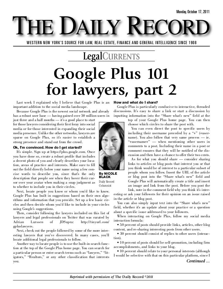 Google Plus 101 for Lawyers, Par 2